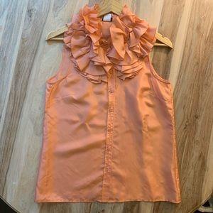 J. Crew Factory Peach Ruffle Sleeveless Top